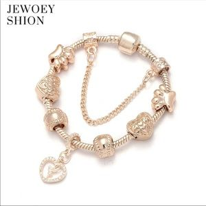 Jewelry - Brand New 19cm Rose Gold Tinkerbell Charm Bracelet